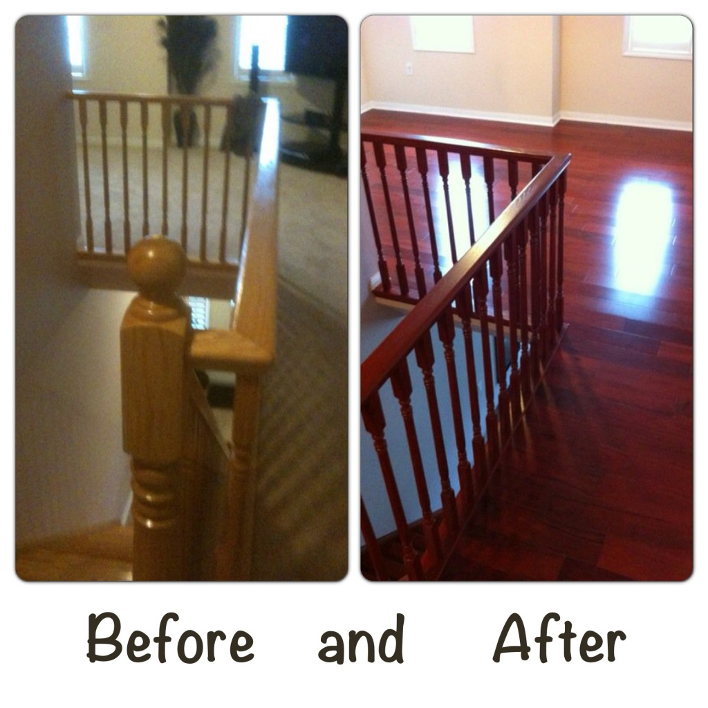 Re-staining a Wood Staircase and Installing Hardwood Floors in Milton ...